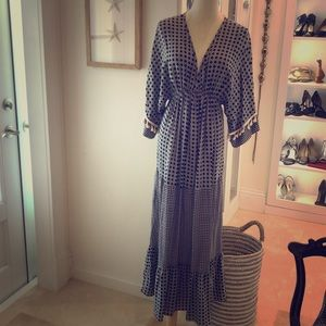 Breezy black and white rayon maxi dress boho